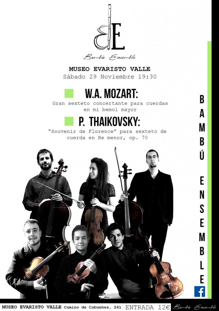 Cartel concierto Bambú Ensemble en el Museo Evaristo Valle. Noviembre 2014