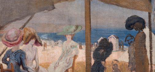 """M. 11 julio – 19.00 h, presentación del lienzo de Evaristo Valle """"En la playa, c. 1905"""""""