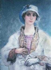 """Evaristo Vale, """"Retrato en blanco"""", c. 1950. Óleo sobre lienzo 66 x 50 cm.Paradero desconocido."""